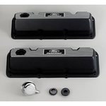 Ford Racing Aluminum Valve Covers, Valve Covers, Stock Height, Cast Aluminum, Black Wrinkle, Ribbed with Ford Racing Logo, Ford, Pair