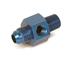 "6AN Male to 1/4"" NPT with 1/8"" NPT in Hex Pressure Gauge Adapter"