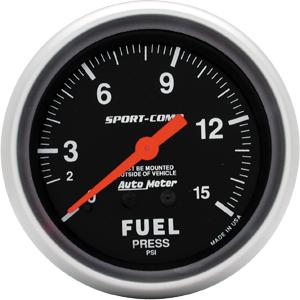"2 5/8"" Sport Comp Mechanical 15psi Fuel Pressure Gauge"