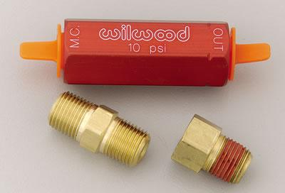 Wilwood Residual Pressure Valves, Residual Pressure Valve, Red Anodized, 10 psi, Drum Brakes, 1/ 8 in. NPT Female Inlet/ Outlet, Each