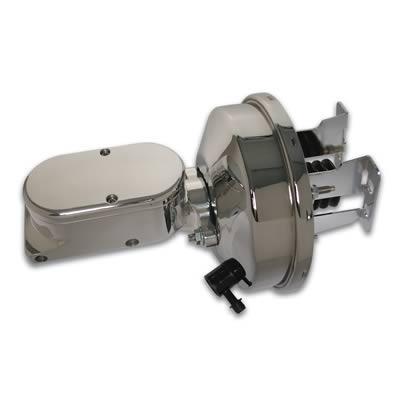 Stainless Steel Brakes Brake Boosters, Brake Booster, Chrome, with Master  Cylinder, Billet Aluminum, Polished, Plain Polished Cap, Kit