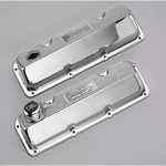 Ford Racing Aluminum Valve Covers, Valve Covers, Stock Height, Cast Aluminum, Polished, Ribbed with Ford Racing Logo, Ford, Pair
