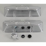 Ford Racing Aluminum Valve Covers, Valve Covers, Stock Height, Cast Aluminum, Polished, Ribbed with Cobra Logo, Ford, Big Block FE, Pair