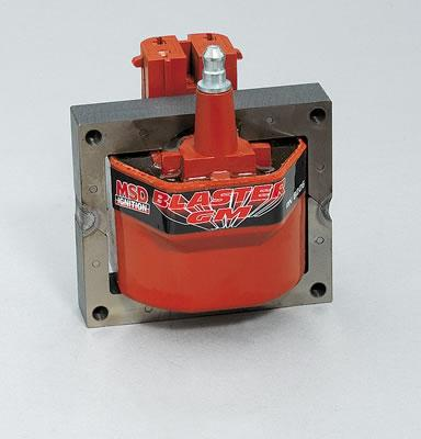 MSD Blaster GM Coils, Ignition Coil, Blaster Performance Replacement,  E-Core, Square, Epoxy, Red, 48,000 V, GM, Each