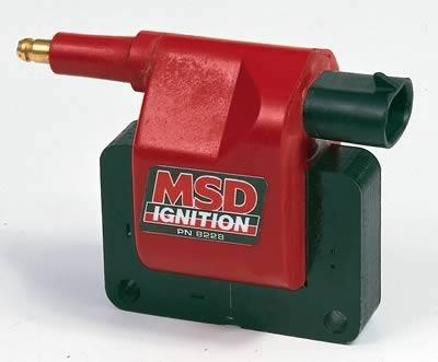 MSD Blaster OEM Replacement Coils (2), Ignition Coil, Blaster Performance Replacement, E-Core, Square, Epoxy, Red, 35,000 V, Each