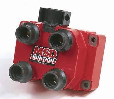 MSD Blaster OEM Replacement Coils (2), Ignition Coil, DIS Performance Replacement, E-Core, Square, Epoxy, Red, 40,000 V, Ford, 4.6L, Each