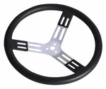 "Steering Wheel 17"" Black w/ Natural Spokes and Smooth Grip"
