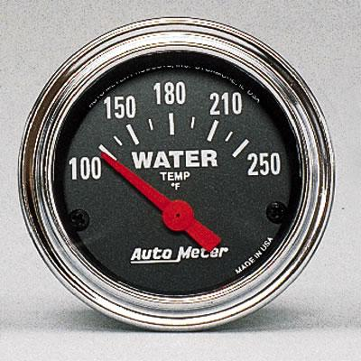 Auto Meter Traditional Chrome Analog Gauges, Traditional Chrome, Water Temperature, 100-250 Degrees F, 2 1/ 16 in., Analog, Electrical, Each
