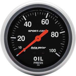 "2 5/8"" Sport Comp 100 psi Mechanical Oil Pressure Gauge"
