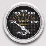Auto Meter Carbon Fiber Ultra-Lite Analog Gauges, Carbon Fiber, Water Temperature, 100-250 Degrees F, 2 1/ 16 in., Analog, Electrical, Each